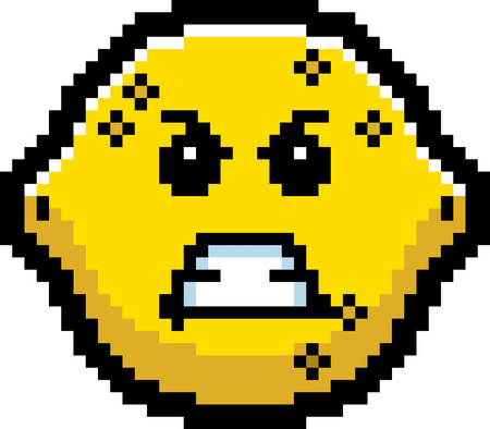 8bit: An illustration of a lemon looking angry in an 8-bit cartoon style.