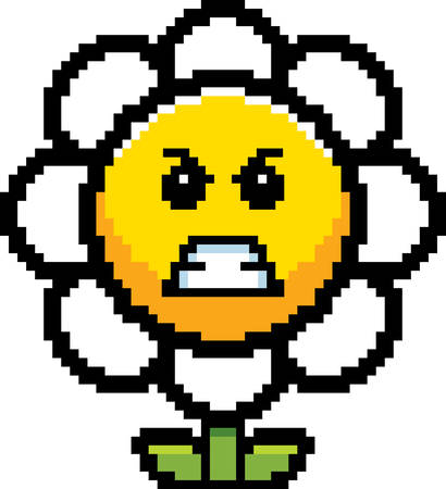 An illustration of a flower looking angry in an 8-bit cartoon style. Ilustrace