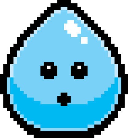 An illustration of a water drop looking surprised in an 8-bit cartoon style. Illusztráció