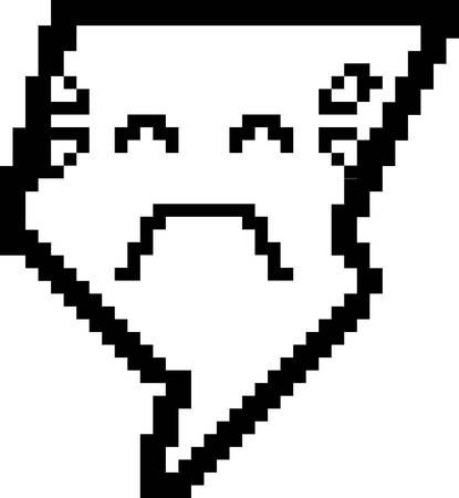 An illustration of a lightning bolt crying in an 8-bit cartoon style. Ilustração