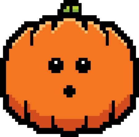 8bit: An illustration of a pumpkin looking surprised in an 8-bit cartoon style. Illustration