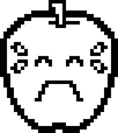 8bit: An illustration of an apple crying in an 8-bit cartoon style.