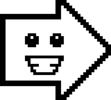 8bit: An illustration of an arrow smiling in an 8-bit cartoon style.