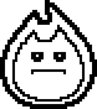8bit: An illustration of a flame looking serious in an 8-bit cartoon style.