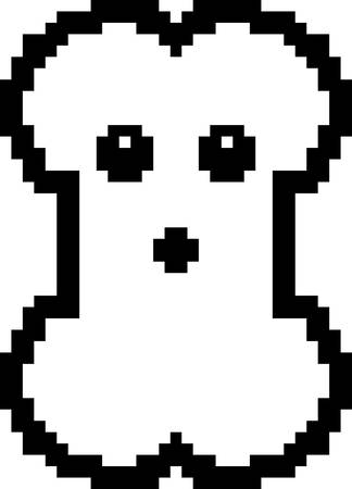 An illustration of a bone looking surprised in an 8-bit cartoon style.