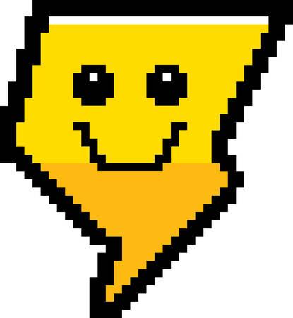 8bit: An illustration of a lightning bolt smiling in an 8-bit cartoon style. Illustration