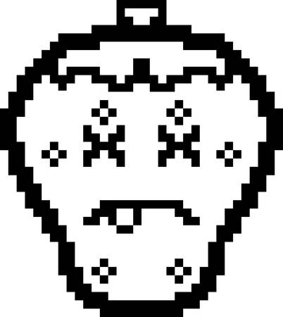 An illustration of a strawberry looking dead in an 8-bit cartoon style.
