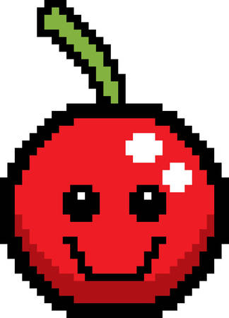 8bit: An illustration of a cherry smiling in an 8-bit cartoon style. Illustration