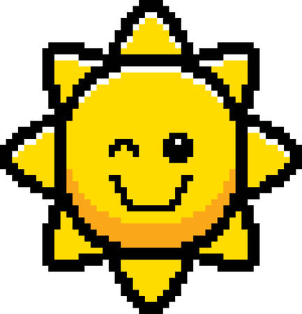 8bit: An illustration of the sun winking in an 8-bit cartoon style.