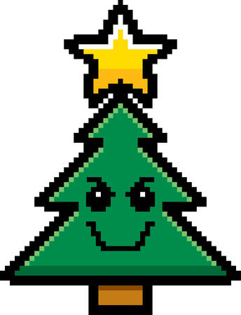 8bit: An illustration of a Christmas tree looking evil in an 8-bit cartoon style.