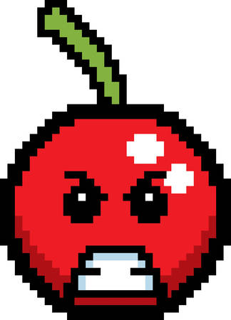 cartoon clipart: An illustration of a cherry looking angry in an 8-bit cartoon style.