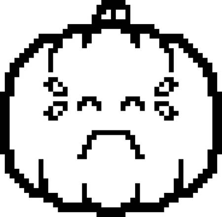 calabaza caricatura: An illustration of a pumpkin crying in an 8-bit cartoon style. Vectores