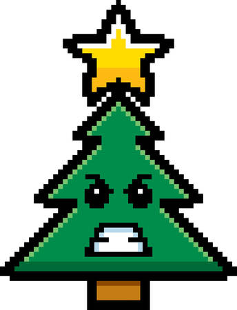 cartoon emotions: An illustration of a Christmas tree looking angry in an 8-bit cartoon style. Illustration