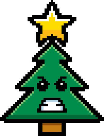 estrella caricatura: Una ilustraci�n de un �rbol de Navidad que parece enojado en un estilo de dibujos animados de 8 bits. Vectores