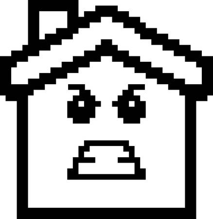 house with style: An illustration of a house looking angry in an 8-bit cartoon style.
