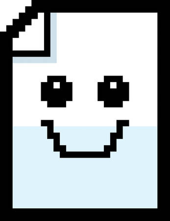 An illustration of a piece of paper smiling in an 8-bit cartoon style. Illustration