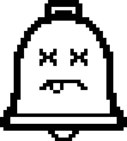 unconscious: An illustration of a bell looking dead in an 8-bit cartoon style. Illustration