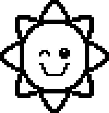 An illustration of the sun winking in an 8-bit cartoon style.
