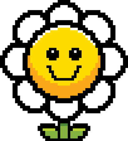 An illustration of a flower smiling in an 8-bit cartoon style. Ilustrace