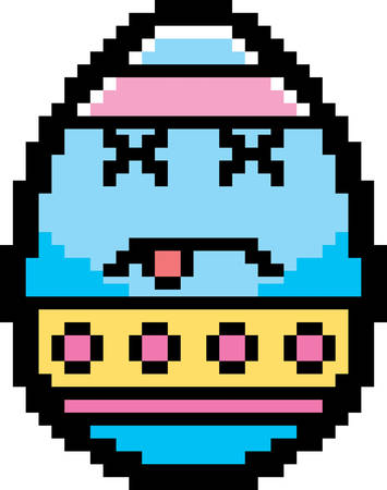 8bit: An illustration of an Easter egg looking dead in an 8-bit cartoon style. Illustration