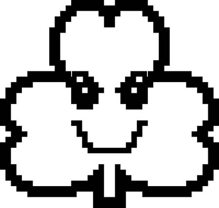 8bit: An illustration of a shamrock looking evil in an 8-bit cartoon style. Illustration