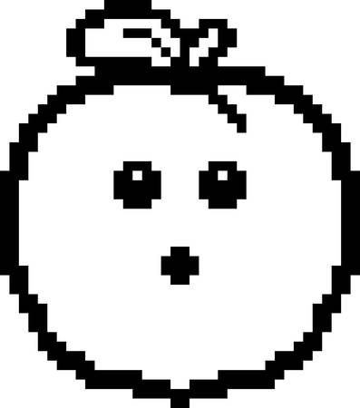 8bit: An illustration of a peach looking surprised in an 8-bit cartoon style.