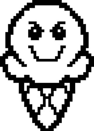 8bit: An illustration of an ice cream cone looking evil in an 8-bit cartoon style.