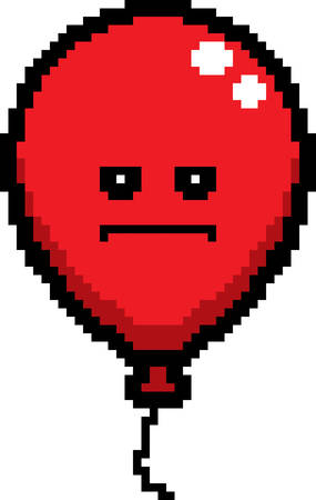 An illustration of a balloon looking serious in an 8-bit cartoon style.
