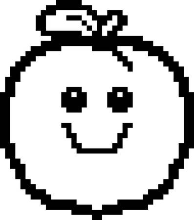 An illustration of a peach smiling in an 8-bit cartoon style. 向量圖像