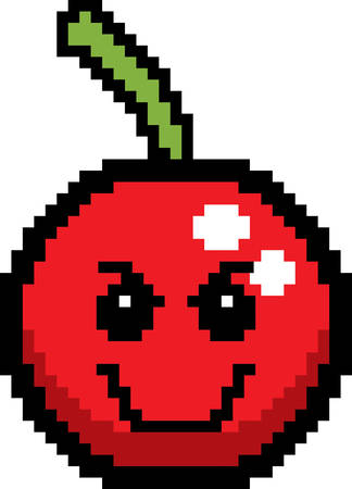 smile cartoon: An illustration of a cherry looking evil in an 8-bit cartoon style. Illustration