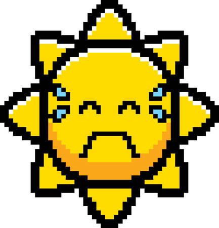 An illustration of the sun crying in an 8-bit cartoon style.