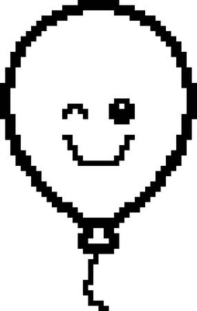 An illustration of a balloon winking in an 8-bit cartoon style. Ilustrace