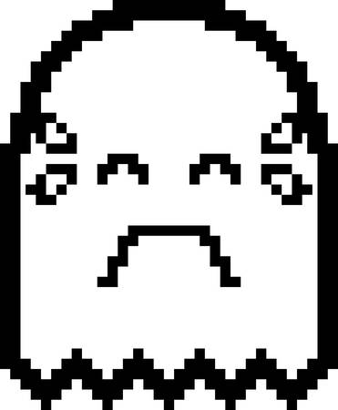 An illustration of a ghost crying in an 8-bit cartoon style.