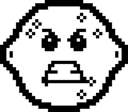 limon caricatura: Una ilustraci�n de un lim�n que parece enojado en un estilo de dibujos animados de 8 bits. Vectores