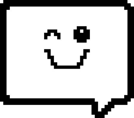 8bit: An illustration of a word balloon winking in an 8-bit cartoon style.