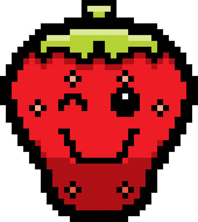 strawberry cartoon: An illustration of a strawberry winking in an 8-bit cartoon style.