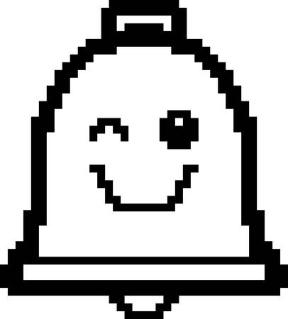 winking: An illustration of a bell winking in an 8-bit cartoon style. Illustration