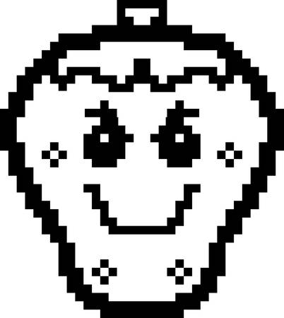 8bit: An illustration of a strawberry looking evil in an 8-bit cartoon style.
