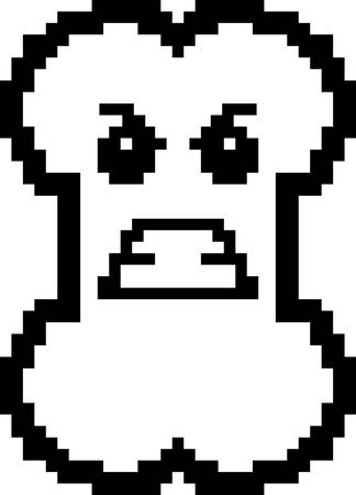 8bit: An illustration of a bone looking angry in an 8-bit cartoon style.