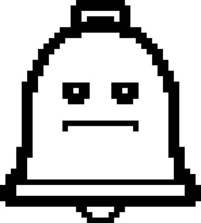 8bit: An illustration of a bell looking serious in an 8-bit cartoon style. Illustration