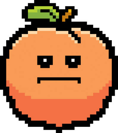 bore: An illustration of a peach looking serious in an 8-bit cartoon style.