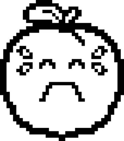 An illustration of a peach crying in an 8-bit cartoon style.