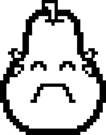 An illustration of a pear crying in an 8-bit cartoon style.