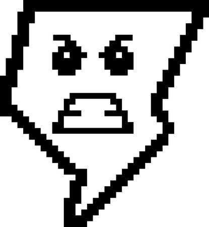 8bit: An illustration of a lightning bolt looking angry in an 8-bit cartoon style.