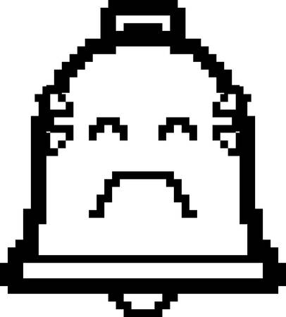 8bit: An illustration of a bell crying in an 8-bit cartoon style.