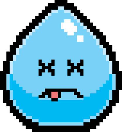 An illustration of a water drop looking dead in an 8-bit cartoon style.