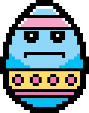 bore: An illustration of an Easter egg looking serious in an 8-bit cartoon style. Illustration