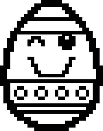 An illustration of an Easter egg winking in an 8-bit cartoon style. Ilustrace