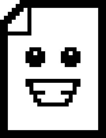 An illustration of a piece of paper smiling in an 8-bit cartoon style. Ilustrace