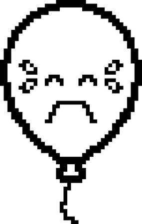 An illustration of a balloon crying in an 8-bit cartoon style.